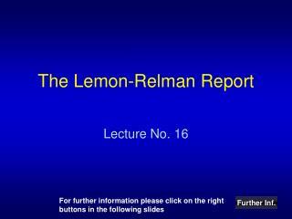 The Lemon-Relman Report
