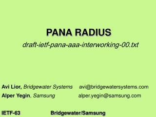 PANA RADIUS draft-ietf-pana-aaa-interworking-00.txt