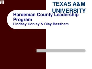 Hardeman County Leadership Program Lindsey Conley & Clay Bassham