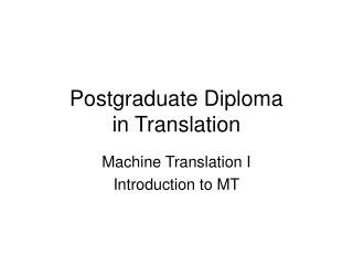Postgraduate Diploma in Translation