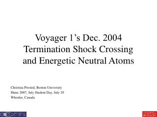 Voyager 1's Dec. 2004 Termination Shock Crossing and Energetic Neutral Atoms