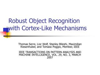 Robust Object Recognition with Cortex-Like Mechanisms