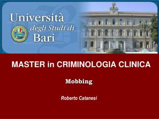 MASTER in CRIMINOLOGIA CLINICA