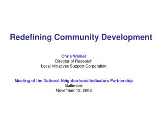 Redefining Community Development