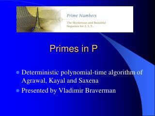Primes in P