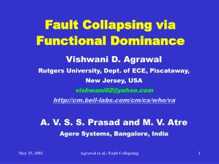 Fault Collapsing via  Functional Dominance