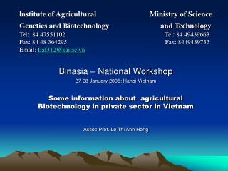 Binasia – National Workshop 27-28 January 2005; Hanoi Vietnam