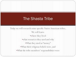 The Shasta Tribe
