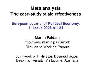 Martin Paldam  martin.paldam.dk Click on to Working Papers