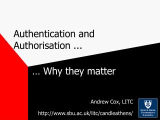 Authentication and Authorisation ...