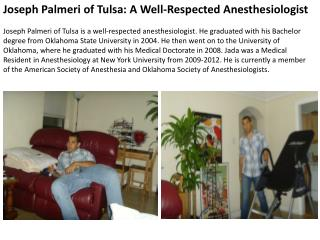 Joseph Palmeri of Tulsa A Well-Respected Anesthesiologist