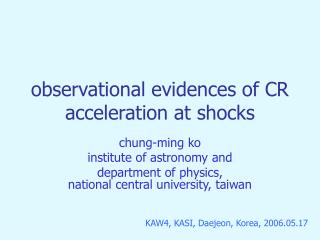 observational evidences of CR acceleration at shocks