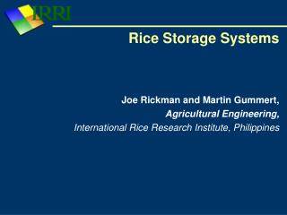 Rice Storage Systems