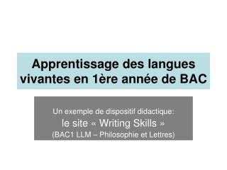 Apprentissage des langues vivantes en 1ère année de BAC