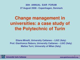 Change management in universities: a case study of the Polytechnic of Turin