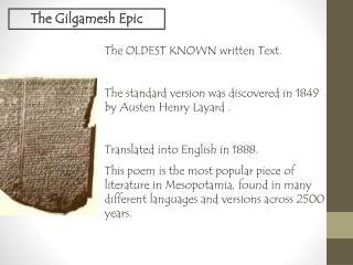 The Gilgamesh Epic