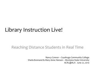 Library Instruction Live!
