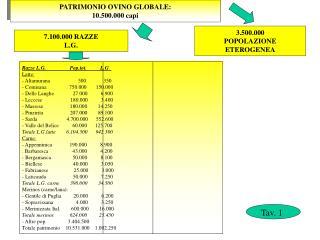 PATRIMONIO OVINO GLOBALE: 10.500.000 capi