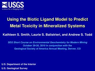 Using the Biotic Ligand Model to Predict Metal Toxicity in Mineralized Systems