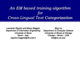 An EM based training algorithm  for  Cross-Lingual Text Categorization