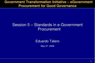 Government Transformation Initiative – eGovernment Procurement for Good Governance