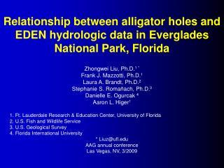 Relationship between alligator holes and EDEN hydrologic data in Everglades National Park, Florida