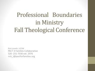 Professional   Boundaries  in Ministry Fall Theological Conference