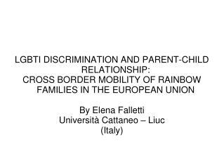LGBTI DISCRIMINATION AND PARENT-CHILD RELATIONSHIP: