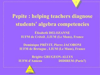 Pepite : helping teachers diagnose students '  algebra competencies