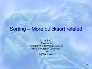 Sorting – More quicksort related