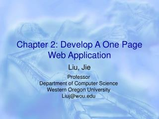 Chapter 2: Develop A One Page Web Application