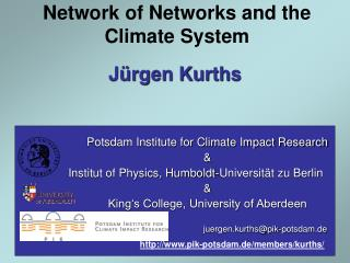 Network of Networks and the Climate System