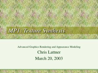 MP1: Texture Synthesis