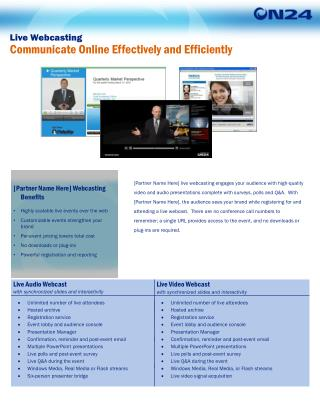 Live Webcasting Communicate Online Effectively and Efficiently