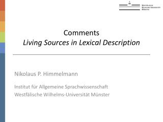 Comments  Living Sources in Lexical Description