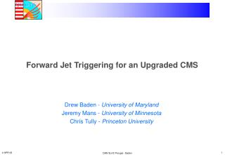 Forward Jet Triggering for an Upgraded CMS