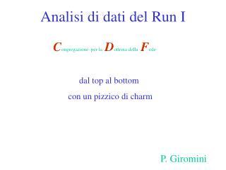 Analisi di dati del Run I