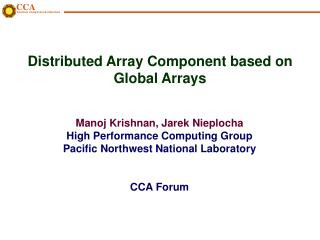 Distributed Array Component based on Global Arrays