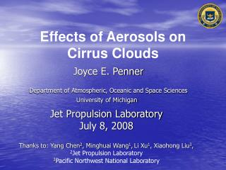 Effects of Aerosols on Cirrus Clouds