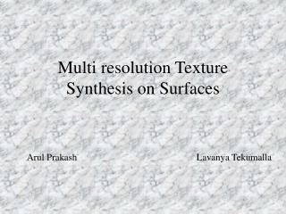 Multi resolution Texture Synthesis on Surfaces