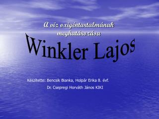 A víz oxigéntartalmának meghatározása