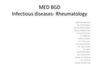 MED BGD Infectious diseases- Rheumatology