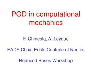 PGD in computational mechanics