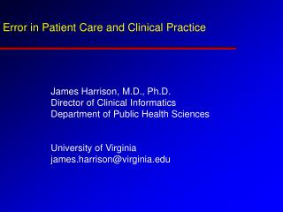 Error in Patient Care and Clinical Practice
