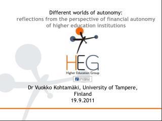 Dr Vuokko Kohtamäki, University of Tampere, Finland 19.9.2011