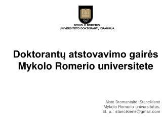 Doktorantų atstovavimo gairės Mykolo Romerio universitete