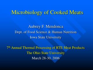 Microbiology of Cooked Meats