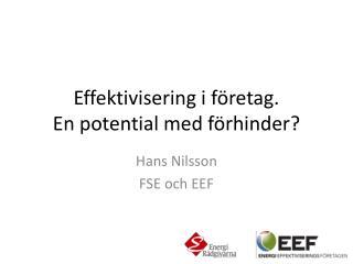 Effektivisering i företag.  En  potential med  förhinder?