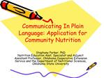 Communicating In Plain Language: Application for Community Nutrition