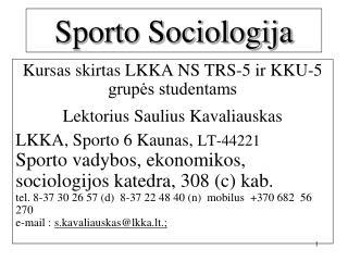 Sporto Sociologija